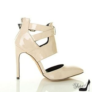 Gia Nude Patent Leather Cross-Strap Heels